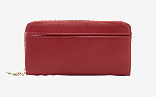 Tusk Donington Gold Zip Clutch Wallet, Red