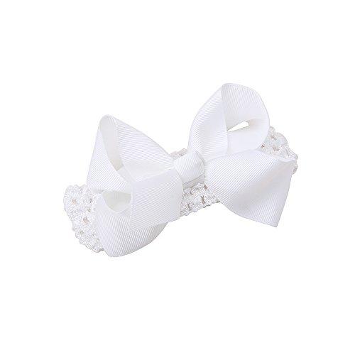 (Delebao Christening Baptism Cross Flower Headband Baby Newborn Girl Goddaughter Granddaughter Gift (Bowknot))
