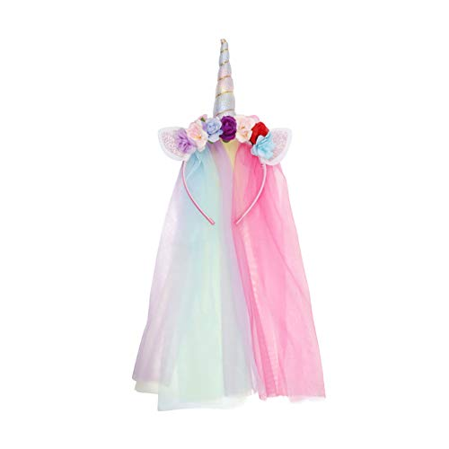 JYUAN Rainbow Unicorn Horn Headband With Tulle Ears Flowers for Girls Kids Birthday Party Halloween Cosplay Costume -