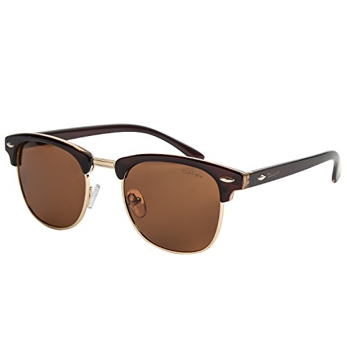 Dollger Classic Polarized Clubmaster Sunglasses Half Frame Horn Rimmed(Brown Lens+Brown Resin - Polarized Clubmasters
