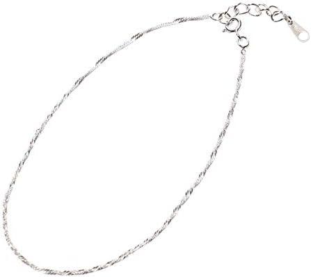 [해외](SOWAKA) 장식 여성용 실버 925 간단 프렌치 밧줄 실버 체인 (손해 사정인) / (SOWAKA) Anklet Ladies Silver 925 Simple French Rope Silver Chain with Adder