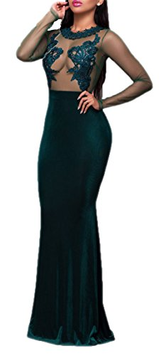 made2envy Mesh Lace Applique Velvet Evening Maxi Gown Dre...