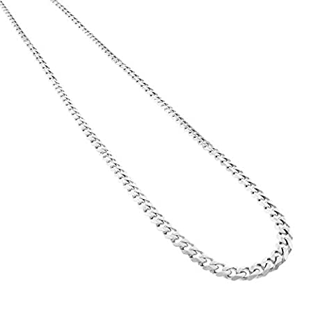 Solid 14K White Gold Finish Over Sterling Silver 6.0 mm Cuban Link Chain 16 to 38 (22) (Men Gold Over Silver Chain)