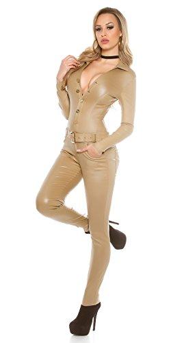 KouCla Lederlook Overall Jumpsuit - Langarm Wetlook Catsuit Schwarz Beige Gr. XS - XL (XS, 2 Beige)