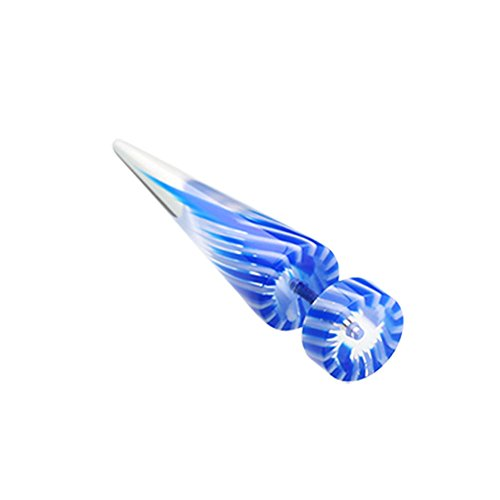 UV Acrylic Fake Tapers - Sold as a Pair (Blue/White) (Style Stainless Steel Pinwheel)
