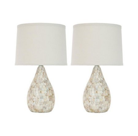 Safavieh Indoor Contemporary 1-light Mother of Pearl Table Lamps (Set of 2) by Safavieh