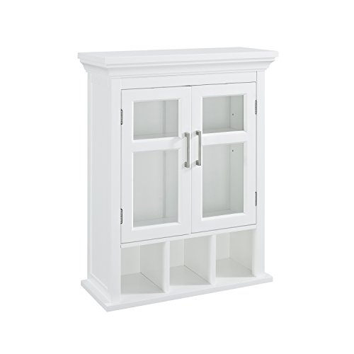 Simpli Home Avington Two Door Wall Cabinet with Cubbies, White