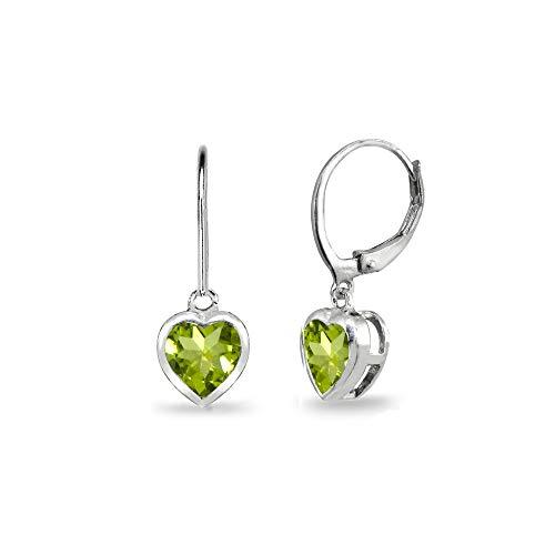 Sterling Silver Peridot 6mm Heart Bezel-Set Dainty Dangle Leverback Earrings for Women Teen Girls
