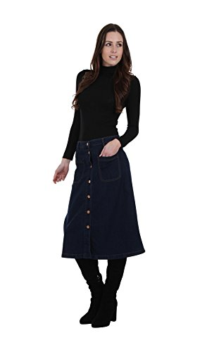 h Denim Midi Skirt Ladies Jean Skirt, Denim Calf-Length Skir (Avenue Denim Skirt)