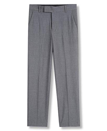Calvin Klein Boys' Big Bi-Stretch Flat Front Dress Pant, Grey Heather, 10