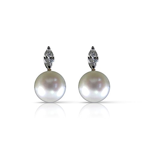 - .30CT DIAMOND MARQUISE & AAA SOUTH SEA PEARL 18KT W GOLD EARRINGS #12125