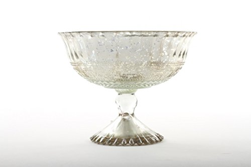 Koyal Wholesale 7-Inch Antique Silver Glass Compote Bowl Pedestal Flower Bowl Centerpiece (Compote Glass Pedestal Bowl)