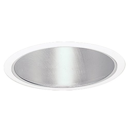 (HALO Recessed 404C 6-Inch Socket Supporting Trim with Clear Specular Reflector, White)