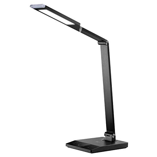TaoTronics TT-DL048 Desk Lamp with 1000 Lux Bright Yet Eye-Caring LED Panel and 5 Color Modes, USB Port, 1-Hour Auto-Timer and Nightlight Function, Black