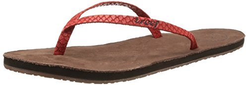 Reef Women's Leather Uptown Luxe Flip Flop,Red/Brown,7 M US