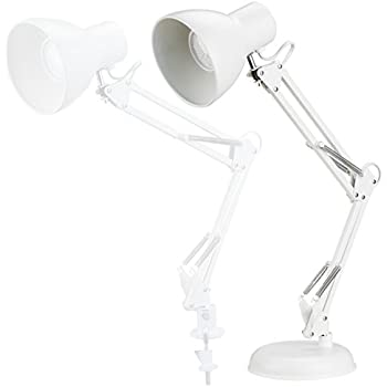 ToJane Swing Arm Lamp White,Architecture Desk Lamp with Base, Table Clip Mount Lamps for Office/Studio
