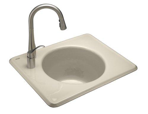 - Kohler K-6654-1L-47 Tandem Self-Rimming Cast Iron Utility Sink, Almond