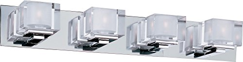 Maxim 10004CLPC Cubic 4-Light Bath Vanity, Polished Chrome Finish, Clear Glass, G9 Xenon Xenon Bulb , 100W Max., Wet Safety Rating, Standard Dimmable, Glass Shade Material, 1150 Rated Lumens - Standard Vanity Lighting