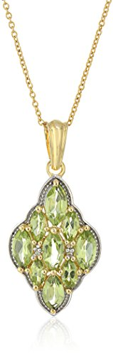 14K Yellow Gold Plated 3.61 Carat Genuine Peridot & White Topaz .925 Sterling Silver Pendant 14k Yellow Gold Peridot Pendant
