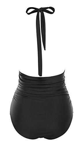 che da Deep Backless da Costume dimagrisce 2xl nero V Supporto Piece donna Monokini bagno One S s q1zId