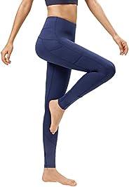 habibee Yoga Pants for Women with Pockets High Waist Leggings Tummy Control Workout Pants 4 Way Stretch Yoga C