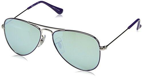 Ray-Ban Junior RJ9506S Aviator Kids Sunglasses, Violet on Silver/Green Flash Silver, 50 ()