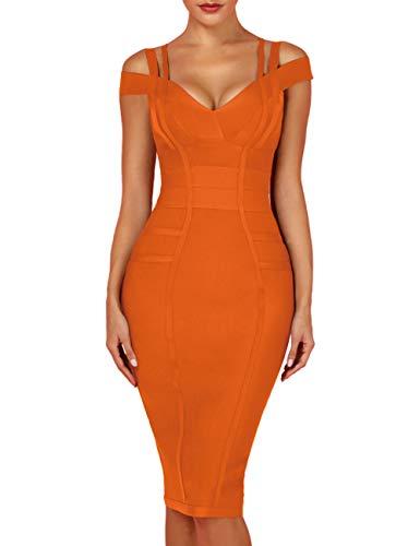 whoinshop Women's Rayon Sexy V Neck Bodycon Clubwear Party Bandage Dress (XL, Orange)
