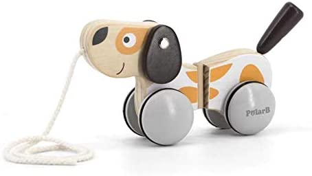 MODERNGENIC Pull-A-Long Puppy Wooden Toy for Toddlers, Rubber Rimmed Wheels for Easy Push and Pull Action