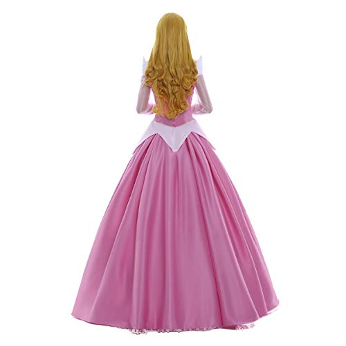 iCos Women Girl Long Princess Pink Satin Dress Deluxe Halloween Costume Petticoat (Small) -