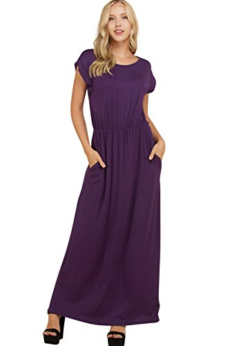 Dress Knit Shirred (Annabelle Women's Elasticized Shirred Waist Full Length Casual Plus Size Maxi Dresses Violet XX-Large D5548P)