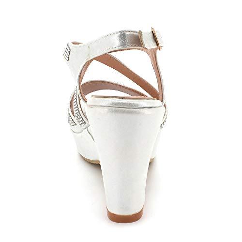 Argent Mariage Ouvert Bout Sandales Taille Bal Dames Décontractée Talon Diamante Soir Chaussures Bloc Femmes De Des wfZqYR