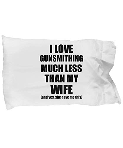 EzGift Gunsmithing Husband Pillowcase Funny Valentine Gift Idea for My Hubby from Wife I Love Pillow Cover Case Set Standard Size 20x30