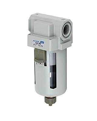 "PneumaticPlus SAF400-N04B Compressed Air Particulate Filter 1/2"" NPT, 10 Micron - Poly Bowl w/ Manual Drain, Bracket"