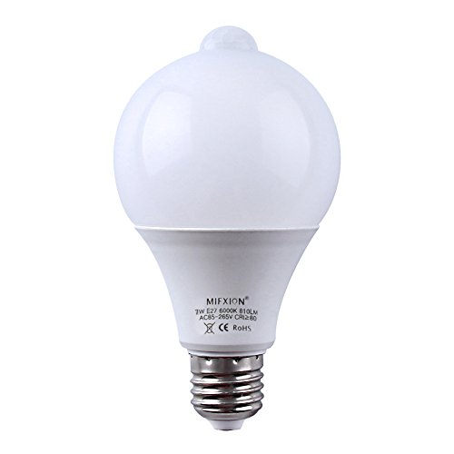 7-Watt E27/E26 Motion Sensor + Light Sensor Detector Activated LED Light Bulbs Lamp Automatic LED indoor Lighting for Closet,Basement,Stairs,Front Door,Garage and Entrance - Cool White 6000K