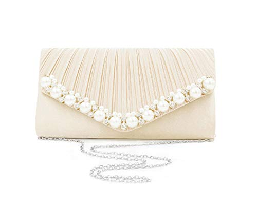 Women Evening Shoulder Handbag Pleated Party Apricoat Pearl Bag Formal Aimeely Clutch Bag 6qHd6xE