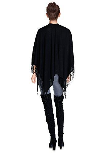 CHERRY PARIS - Poncho - chaleco - Básico - cuello en V - Sin mangas - para mujer negro