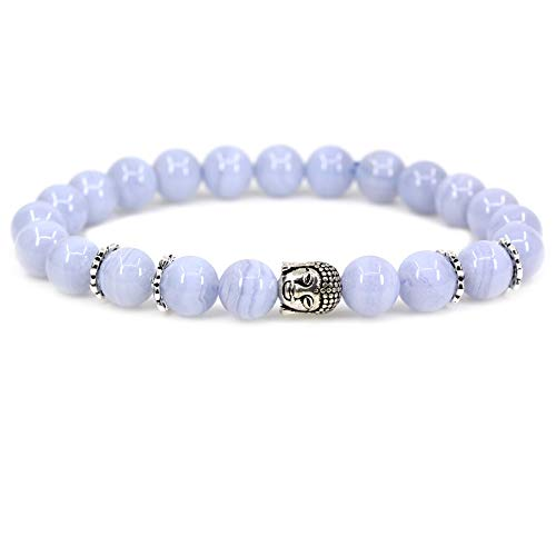 Natural A Grade Blue Lace Agate with 925 Sterling Silver Buddha Head Gemstone 8mm Round Beads Stretch Bracelet 7