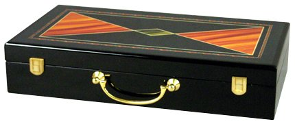 Glossy Wooden Poker Chip Case - Holds 300 Chips, 2 Decks of Playing Cards and Dice by Da Vinci