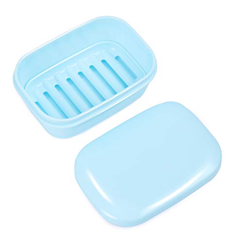 OUNONA Travel Soap Box Drain Lid Soap Holder Rack Container Home Outdoor Hiking Camping Gym Blue