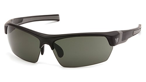 (Venture Gear Tensaw Half-Frame High Performance Safety Eyewear, Black Frame, Forest Gray Anti-Fog)