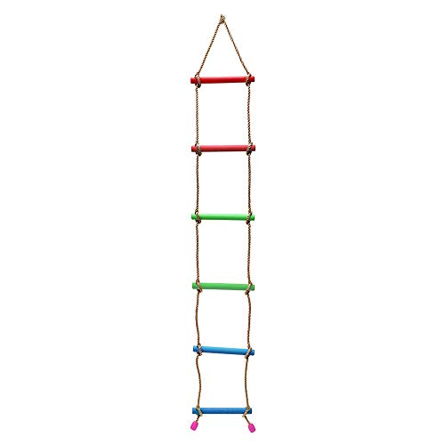 (Rainbow Craft Climbing Rope Ladder for Kids - Backyard Climbing Ladder - Ninja Ladder, Kid Ladder, Playground Rope Ladder for Swing Set)