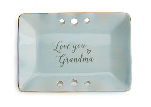 Pavilion Gift Company 84142 Plain Emmaline - Love You Grandma Blue & Gold Ceramic Jewelry Dish,