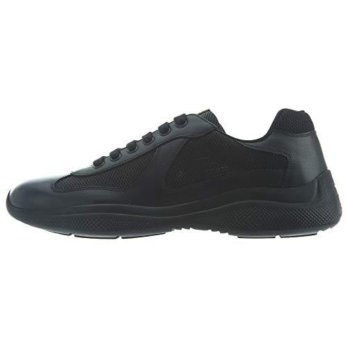 (Prada America's Cup Leather & Mesh Sneaker, 8, Black)