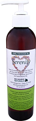 Serenity Massage Oil 8 Fl. Oz. Edible. Contains pure essential oils of Ylang Ylang, Lavender, Rosemary, Orange, Lemon and Lime with all Natural Plant Oils.