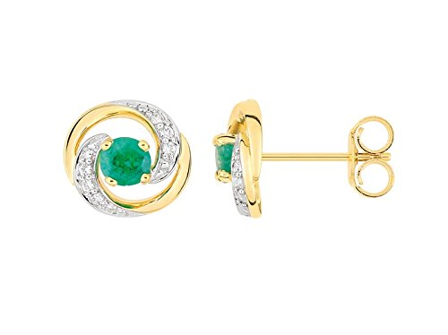 Fontenay bijoux - Boucles d'Oreilles Or 9 Carats Et Emeraude - Reference : 29PA733BEZ