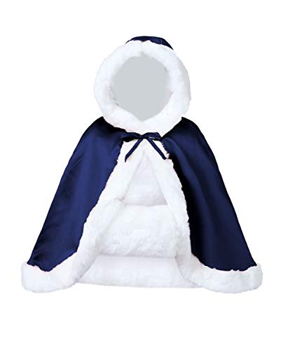 Wedding Cape Hooded Cloak for Bride Winter Reversible with Fur Trim Free Hand Muff Hip-length Navy Blue