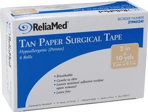 (ReliaMed Paper Tan Tape, Latex-Free 1/2