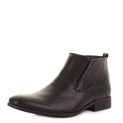 d6929fed92 Mens Black Leather Style Formal Ankle Boots SIZE 6: Amazon.co.uk: Shoes &  Bags