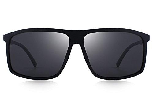O8511 Polarized Rectangular For Glasses Sun Matte Driving Sunglasses Black Oversized Olieye Men's qCwzT57
