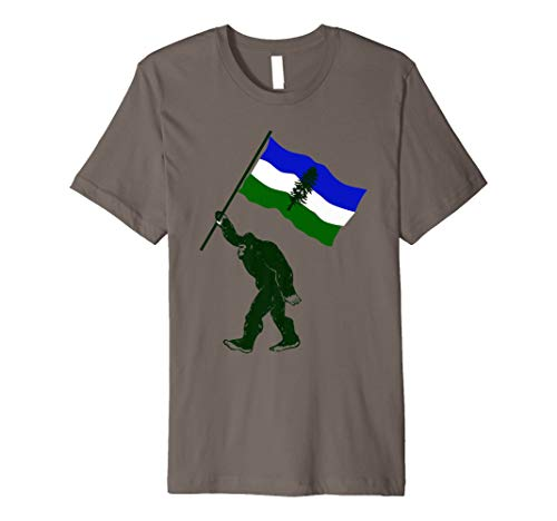 Cascadia Bigfoot with Doug Flag Premium Fitted T-Shirt